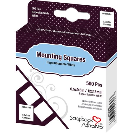 Scrapbook Adhesives Mounting Squares 500/Pkg Repositionable, White, .5