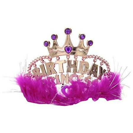 Birthday Princess Tiara with Marabou Pink Feathers](Real Princess Tiaras)