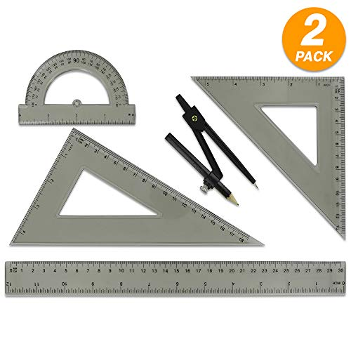 Bazic Geometry Ruler Triangle Protractor Combination Set of 4 Pieces
