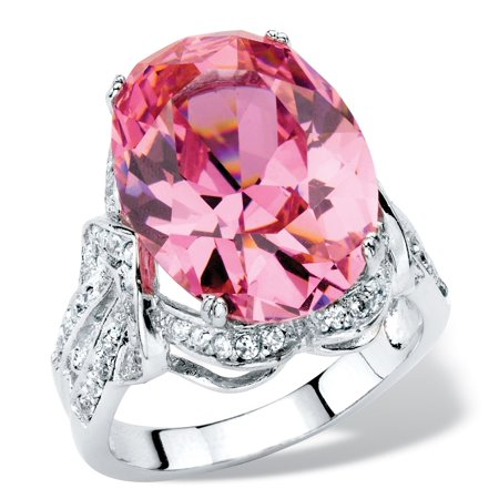 13.24 TCW Oval-Cut Simulated Pink Tourmaline Cubic Zirconia Cocktail Ring with White CZ Accents Platinum-Plated Vintage Opal Cocktail Ring