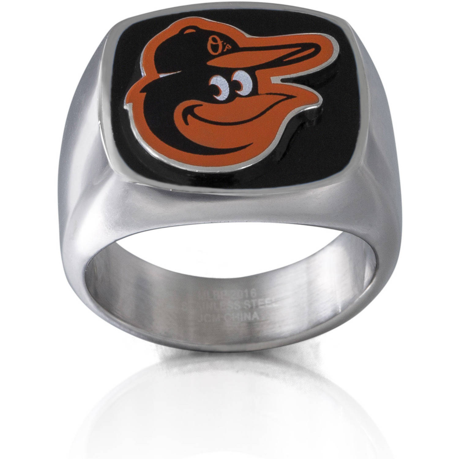 MLB License Stainless Steel Baltimore Orioles Logo Ring