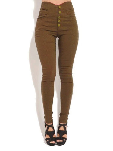 Womens Skinny Pencil Pants High Waist Button Up Stretch Slim Fit Trousers Jeans