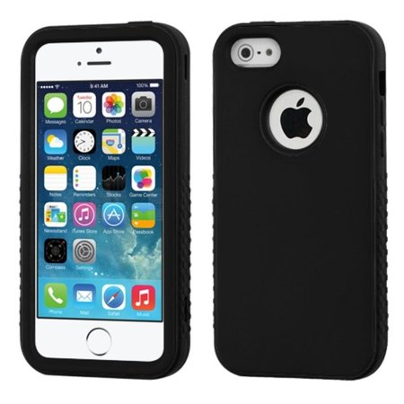 Insten Rubberized Black/Black VERGE Hybrid Case Cover For Apple iPhone SE 5S (Rubberized Shield Cover Case)