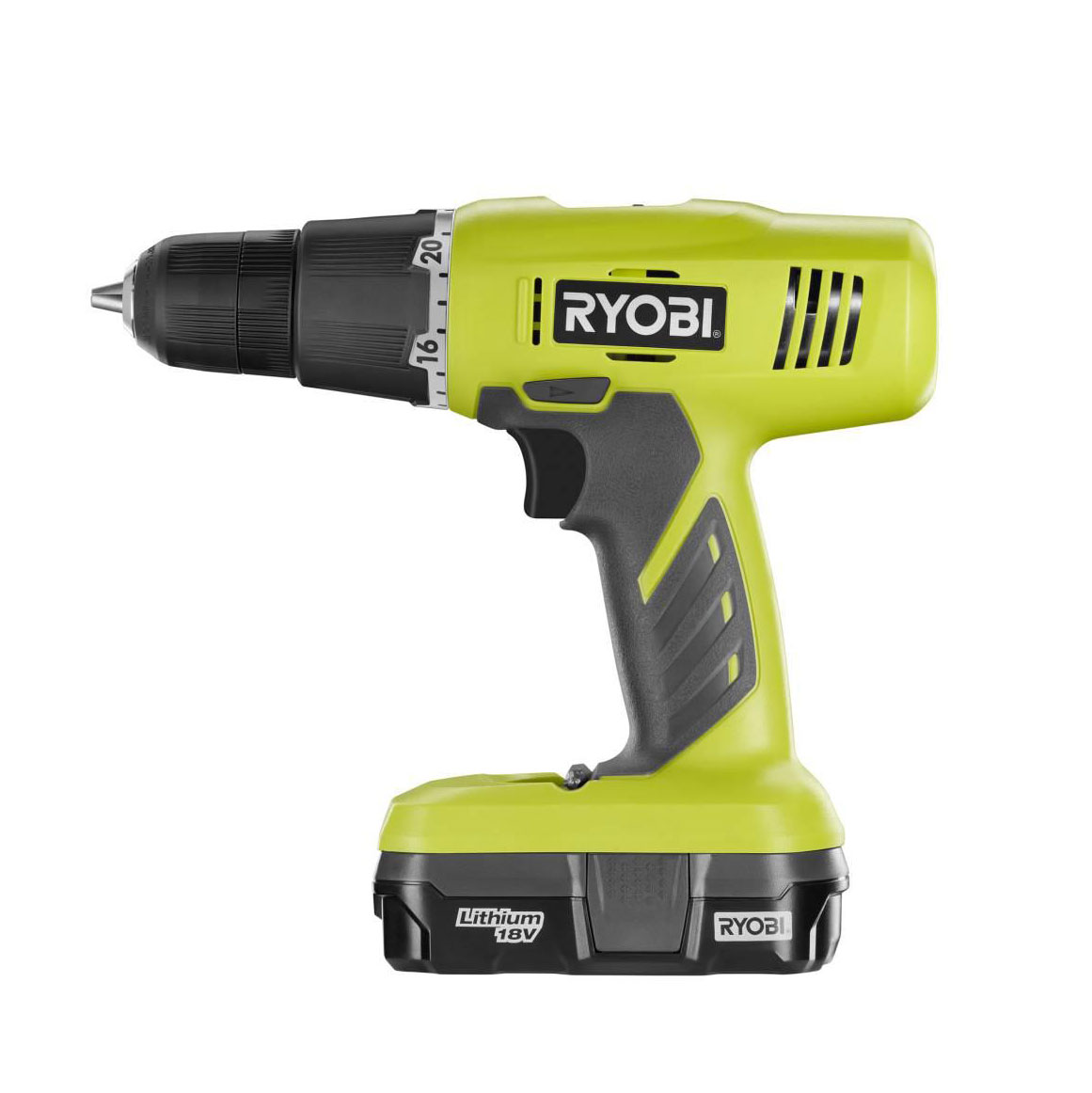 Ryobi 18 Volt One Lithium Ion Cordless Drill/Driver Kit (Certified Refurbished)