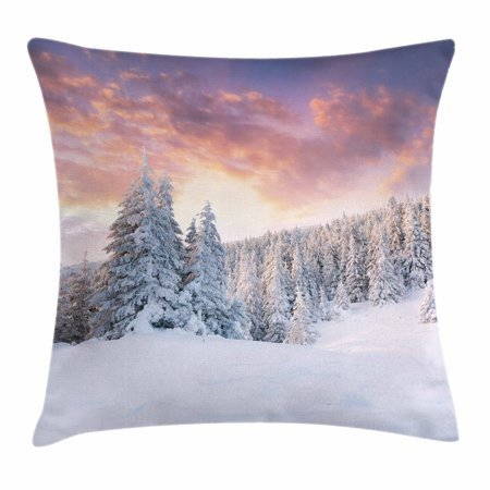 Winter Throw Pillow Cushion Cover  Sunrise In Winter Landscape Snowy Fields Frozen Pine Trees Northern Hemisphere  Decorative Square Accent Pillow Case  20 X 20 Inches  Coral White Blue  By Ambesonne