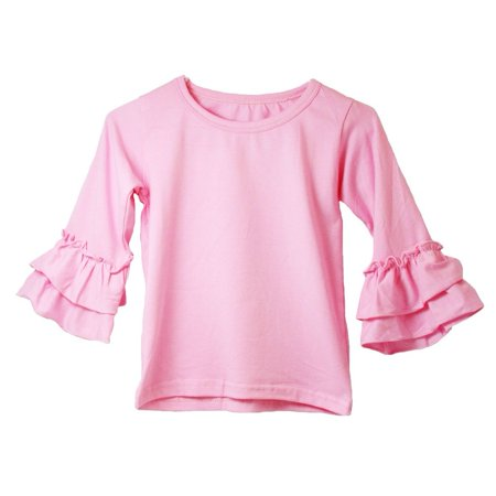 Girls Pink Double Tier Ruffle Sleeved Cotton Spandex Top 12M-7 (Girls Pink Toms)