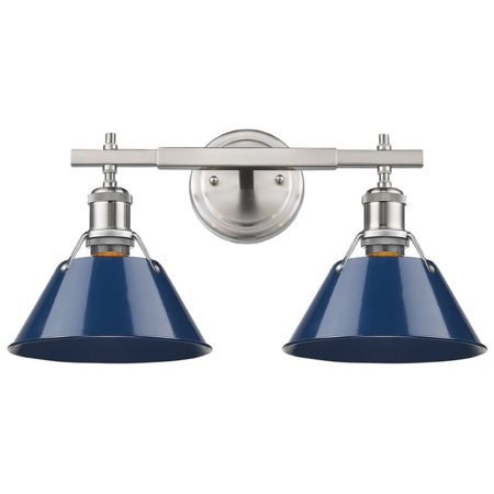 Beaumont Lane 2 Light Steel Vanity Light in Pewter and Navy Blue