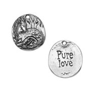 Green Girl Studios Pendant, 18x20.5mm Pure Love, 1 Piece, Lead-Free Pewter