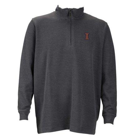 Illinois  Mens 1 4 Zip Flat Back Rib Pullover  Color  Grey