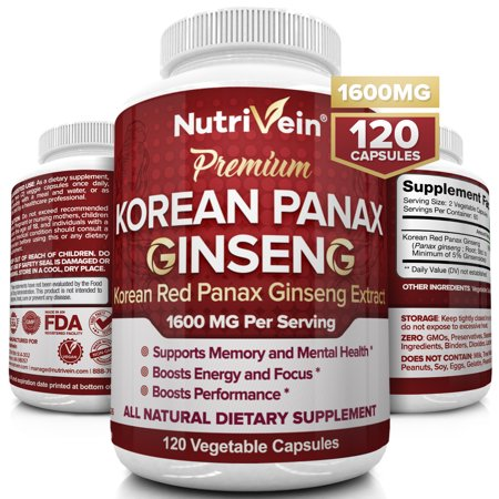 Nutrivein Pure Korean Red Panax Ginseng 1600mg - 120 Vegan Capsules - High Strength 5% Ginsenosides - Ginseng Root Extract Powder for Energy, Potency, Libido, Vigor and Focus for Men and Women High Potency Liquid Extract