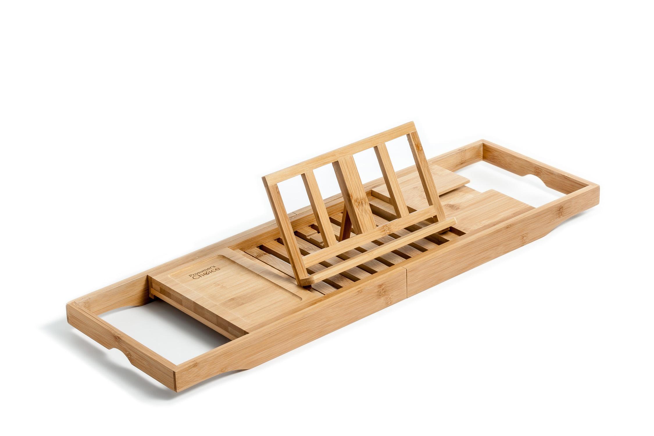 Prosumer\'s Choice Bamboo Bathtub Caddy Tray w/ Included Wineglass ...