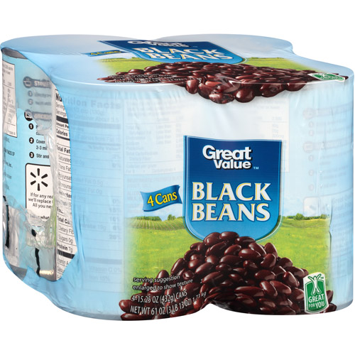 Great Value Black Beans, 15.25 oz, (Pack of 4)