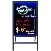 """Woodsam LED Message Writing Board(28""""x20""""), Clear Glass Flashing Menu Sign Board, Remote Controlled Multiple Colors & Flash Modes with Stand"""