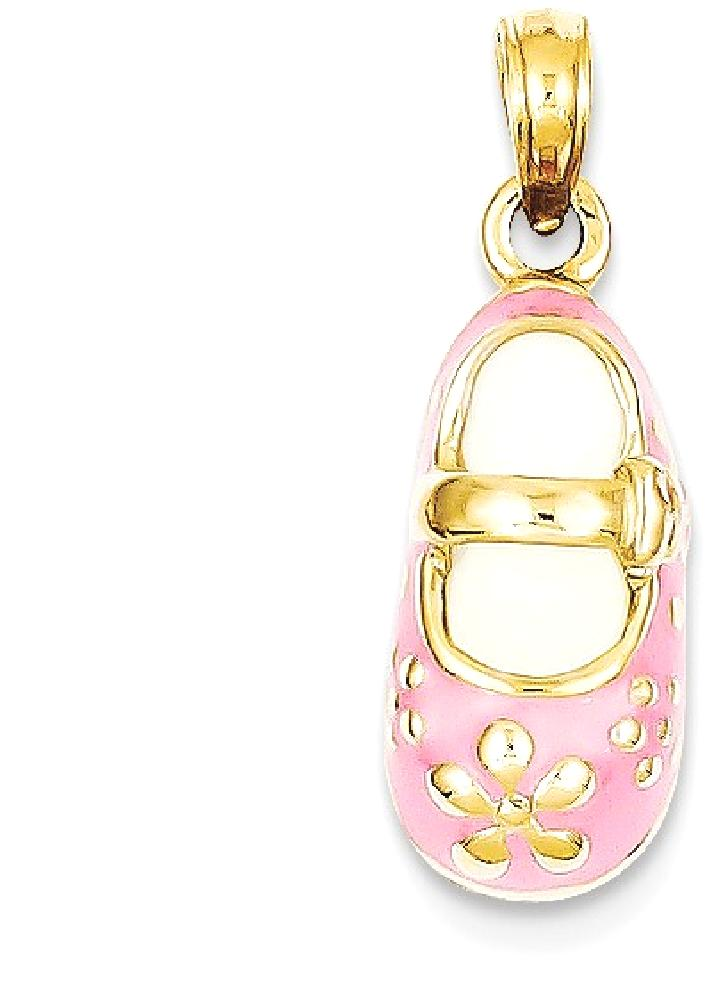 ICE CARATS 14kt Yellow Gold Pink Enameled Baby Shoe Pendant Charm Necklace Fine Jewelry Ideal Gifts For Women Gift Set... by IceCarats Designer Jewelry Gift USA