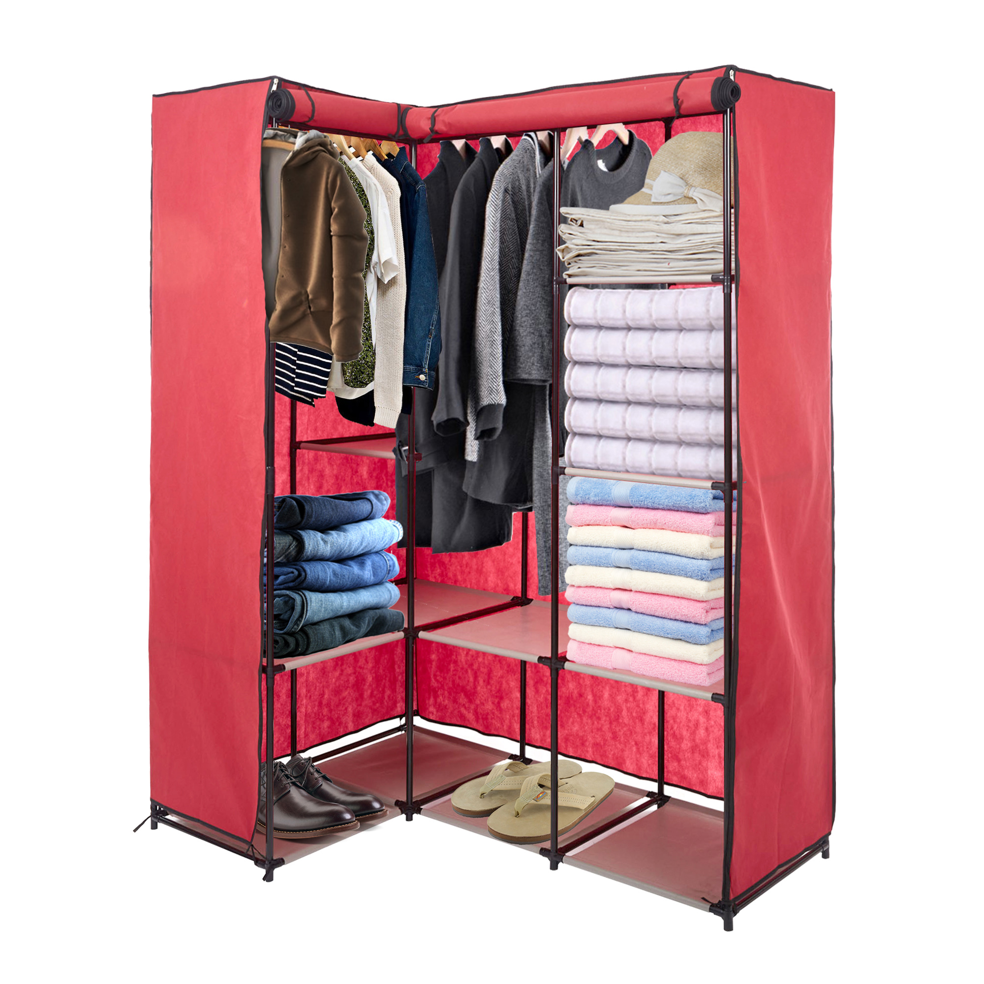 Charmant KARMAS PRODUCT Portable Wardrobe Closets Organizer Cloth Closet Shelves  L Shape Non Woven Fabric Cover Space Saving Clothes Organizer Perfect For  Bedroom ...