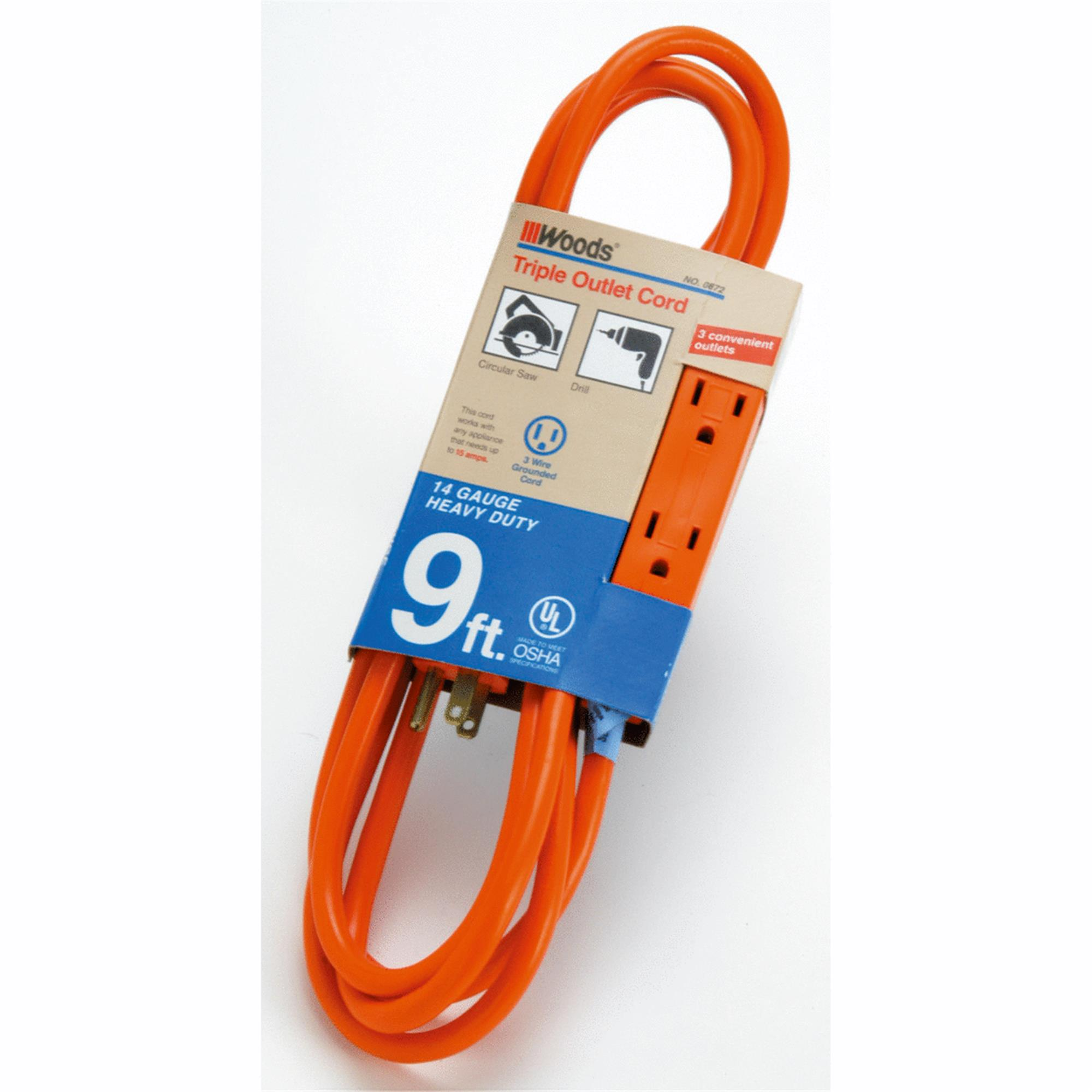 Woods 14/3 Triple Outlet Extension Cord