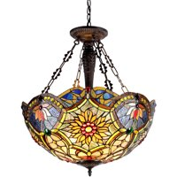 """Chloe Lighting Rebecca Tiffany-Style 3-Light Victorian Inverted Ceiling Pendant with 21"""" Shade"""