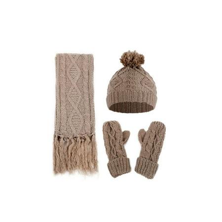 Womens Twist Thick Wool Knit Beanie Fleece Fur Pom Hat Tassel Scarf Gloves  Set - Walmart.com 58b48f3e761
