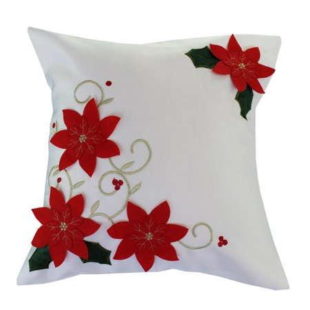 Decorative Christmas Poinsettias With Embroidery Design Cushion