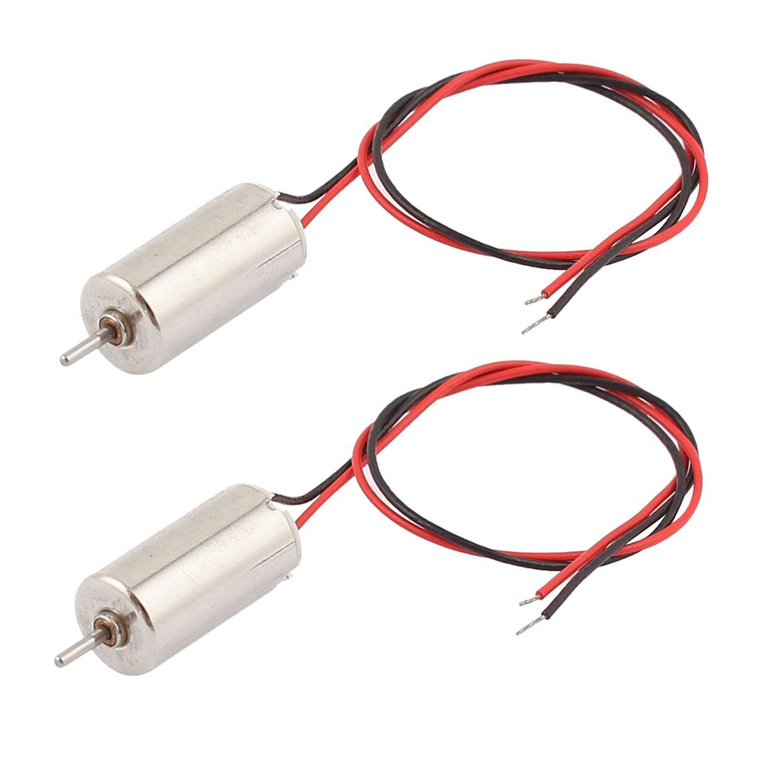 2 Pcs DC 1.5V-4.5V 44273RPM 2-Wire Cylinder Coreless Motor 6mmx12mm