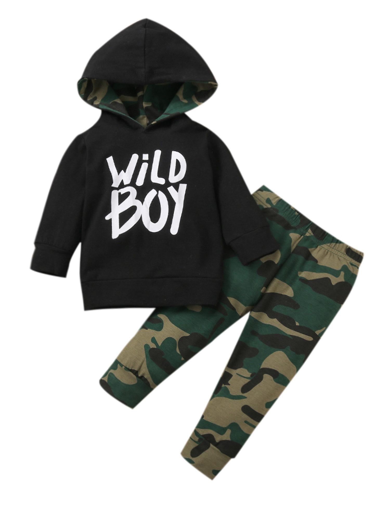 Details about  /2Pcs Baby Kids Boys Camouflage Tracksuit Outfits Clothes Hooded Top Pant Set