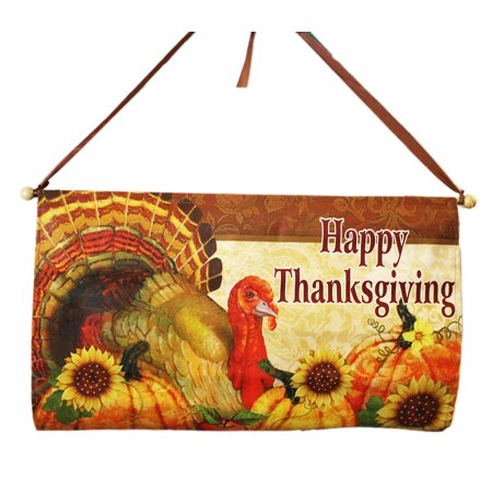 Happy Thanksgiving Turkey and Harvest Pumpkins Banner - By Ganz - Happy Thanksgiving Banners