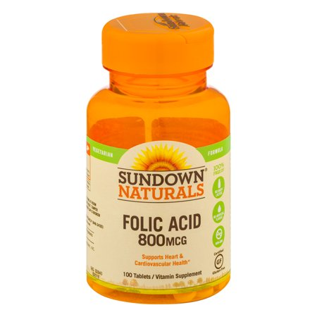 Sundown Naturals Folic Acid 800mcg Vitamin Supplement Tablets - 100 CT