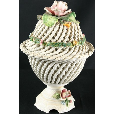 Best Vintage Hand-Painted Italian Capo-Style Ceramic Twisted Rope Lidded Flowers Bowl deal