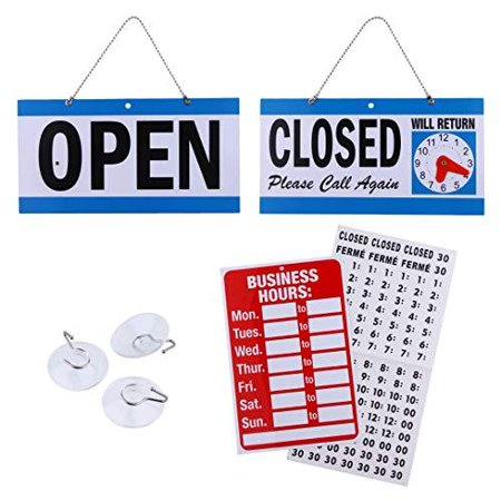 Business Hour Open Closed Sign – Bundle of Office Hours Sign Will Return Clock with Suction Cups for Door Window Businesses Stores Restaurants Bars Retail Barbershop Salon Shops](Sign For Open)