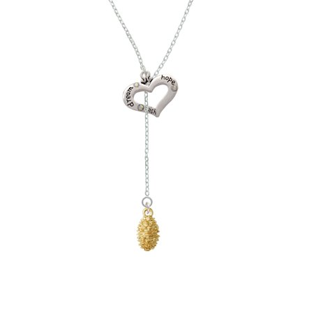 Gold Tone Pine Cone - Dream Hope Wish Heart Lariat Necklace