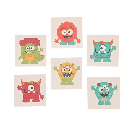 Fun Express - Mini Monster Temporary Tattoos for Birthday - Apparel Accessories - Temporary Tattoos - Regular Tattoos - Birthday - 72 Pieces (Monster Tattoo)