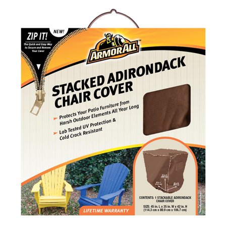 Armor All Stacked Adirondack Chair Cover - Patio - Durable, Elastic Loop, Handle, Ventilated, Double Stitched, Buckle Closure, Zippered, UV Resistant, Crack Resistant ()