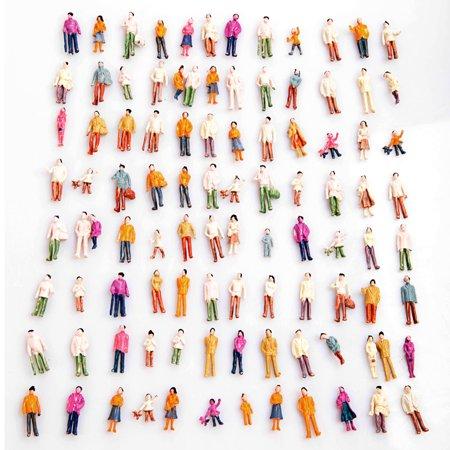 100pcs HO Scale 1:100 Mix Painted Model Train Park Street Passenger People Figures