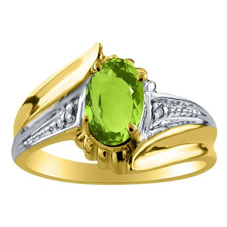 Peridot Womens Topaz (Womens Peridot & Diamond Ring Yellow Gold Plated Silver )
