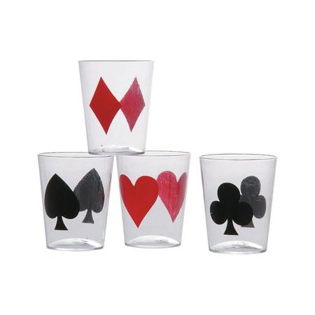 Express Suit (Fun Express - Casino Card Suit Shot Glass Asst (24pc) for Wedding - Party Supplies - Drinkware - Shot Glasses - Wedding - 24)