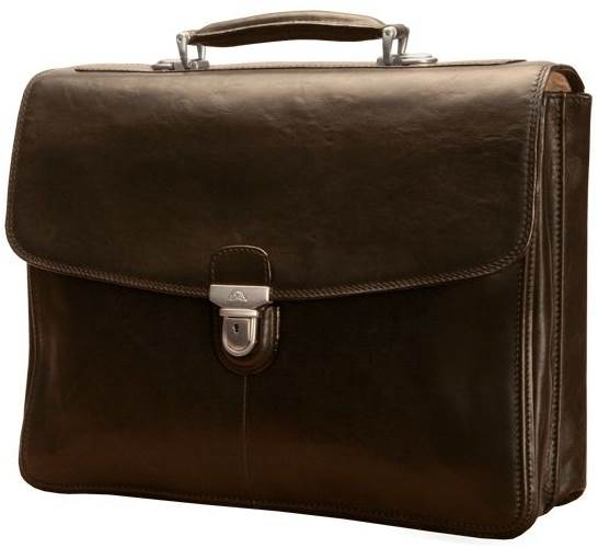 Bella Russo 17 in. Leather Laptop Double Gusset Briefcase (Black)