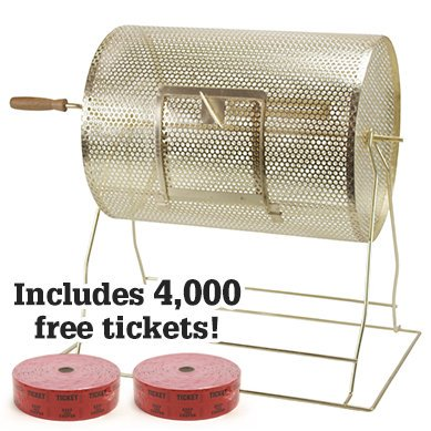 Midway Monsters Medium Brass Raffle Drum with 4,000 Free Raffle Tickets