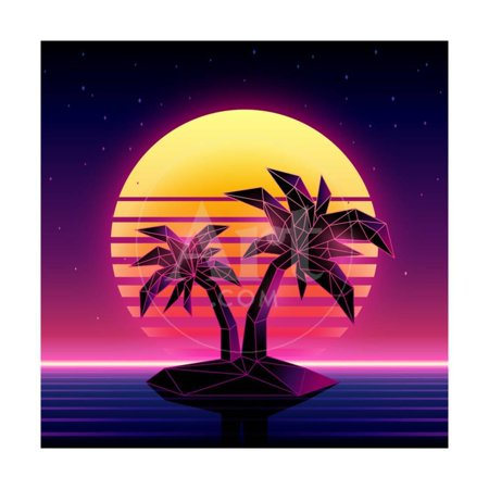 Retro Futuristic Background 1980S Style. Digital Palm Tree on a Cyber Ocean in the Computer World. Print Wall Art By More Trendy Design here
