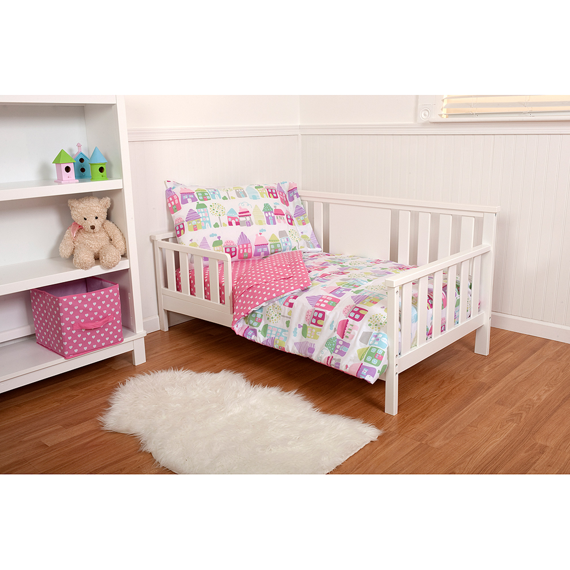 Little Bedding by Nojo Cottages 3-Piece Toddler Bedding Set with BONUS Matching Pillow Case