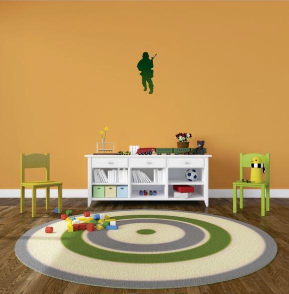 "Custom Wall Decal Vinyl Sticker : Green Soldier Combat Man War Fighter Bedroom Bathroom Living Room Mural : 10 X15"" -"