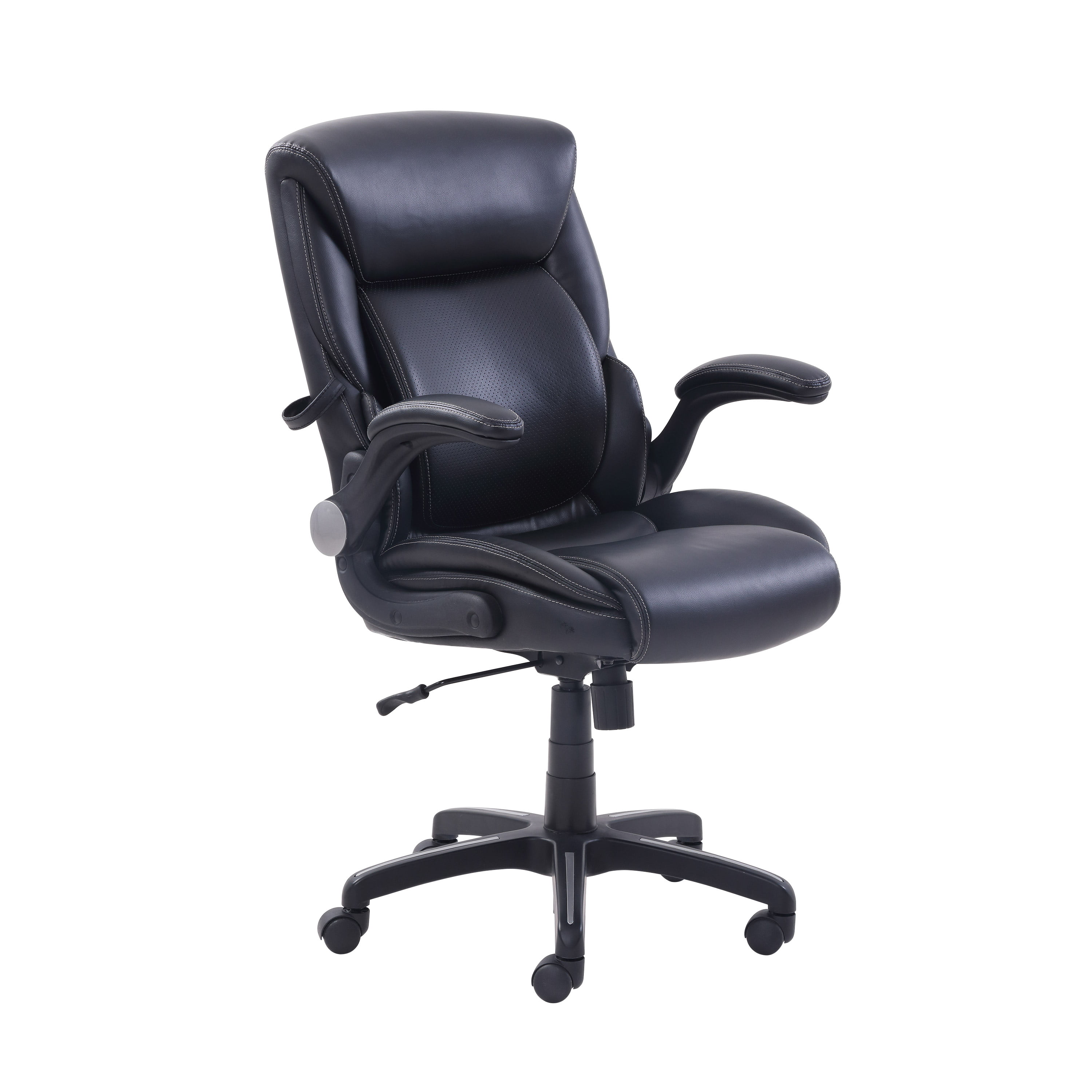 Picture of: Serta Air Lumbar Bonded Leather Manager Office Chair Black Walmart Com Walmart Com