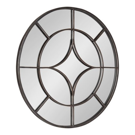 Kate and Laurel Angelis 30-Inch Round Industrial Modern Overlaid Metal Framed Wall Mirror, Black