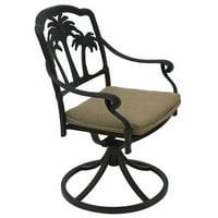 Palm Tree Aluminum Outdoor Patio Swivel Rocker Dining Chair