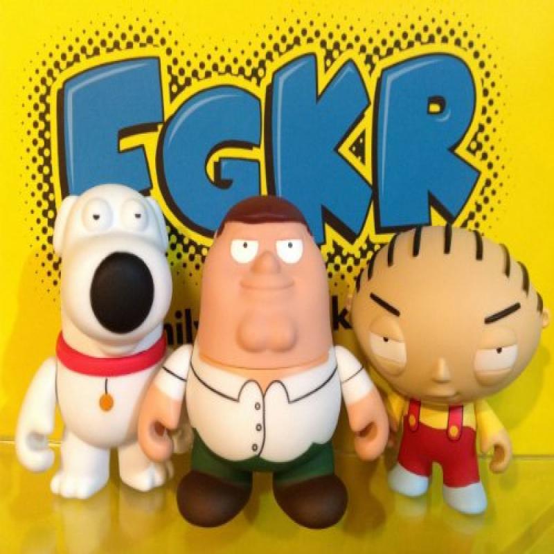 KidRobot Family Guy Set 3 Peter Stewie & Brain W/Boxes, F...