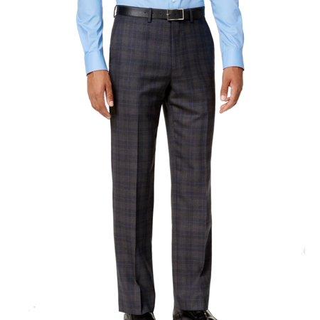 Gray Men 36X34 Dress Flat Front Wool Stretch Pants $175 (Mens Comfort Stretch Wool Dress)