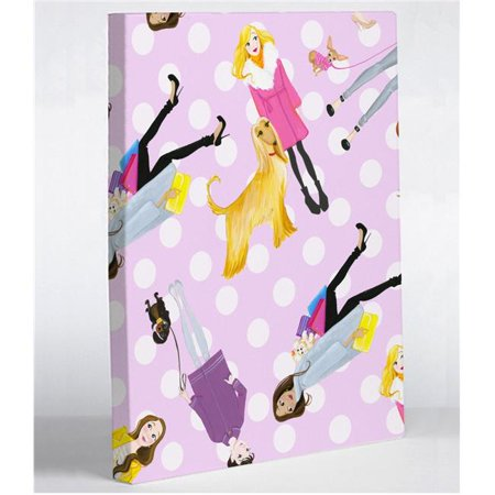 One Bella Casa 73219WD11 11 x 14 in. Love from NYC 7 Girls Dogs Dots Canvas Wall Decor by Pinklight Studio - April Heather Art, Pink & Multi Color - Halloween Dog Show Nyc