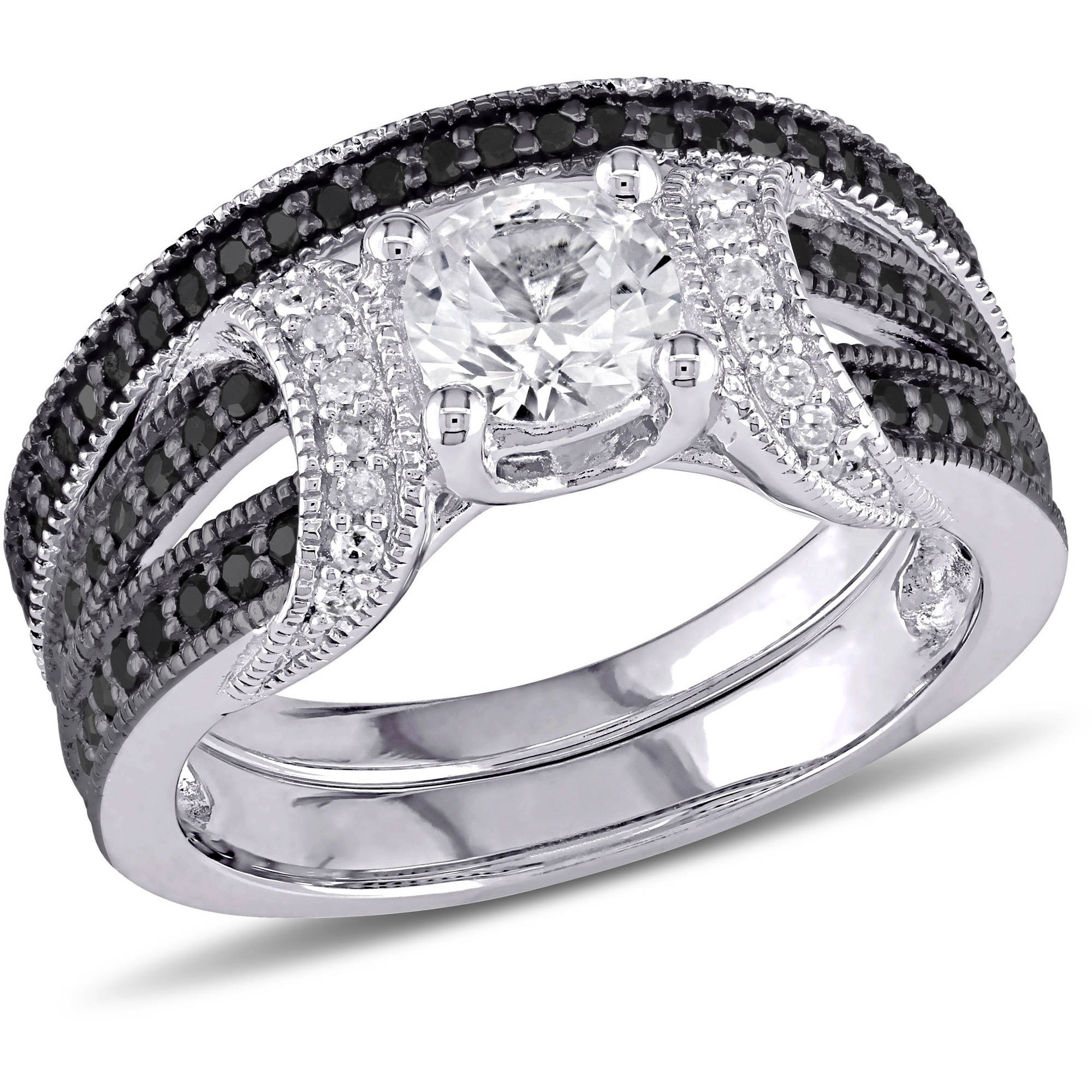 5 8 Carat T.G.W. Created White Sapphire with 2 5 Carat T.W. Black and White Diamond Sterling Silver Bridal Set by Generic