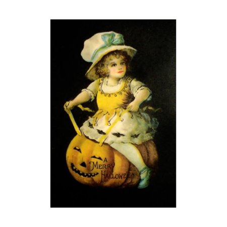 Halloween Girl Blue Blow Print Wall Art By Vintage Apple Collection](Vintage Halloween Photos For Sale)