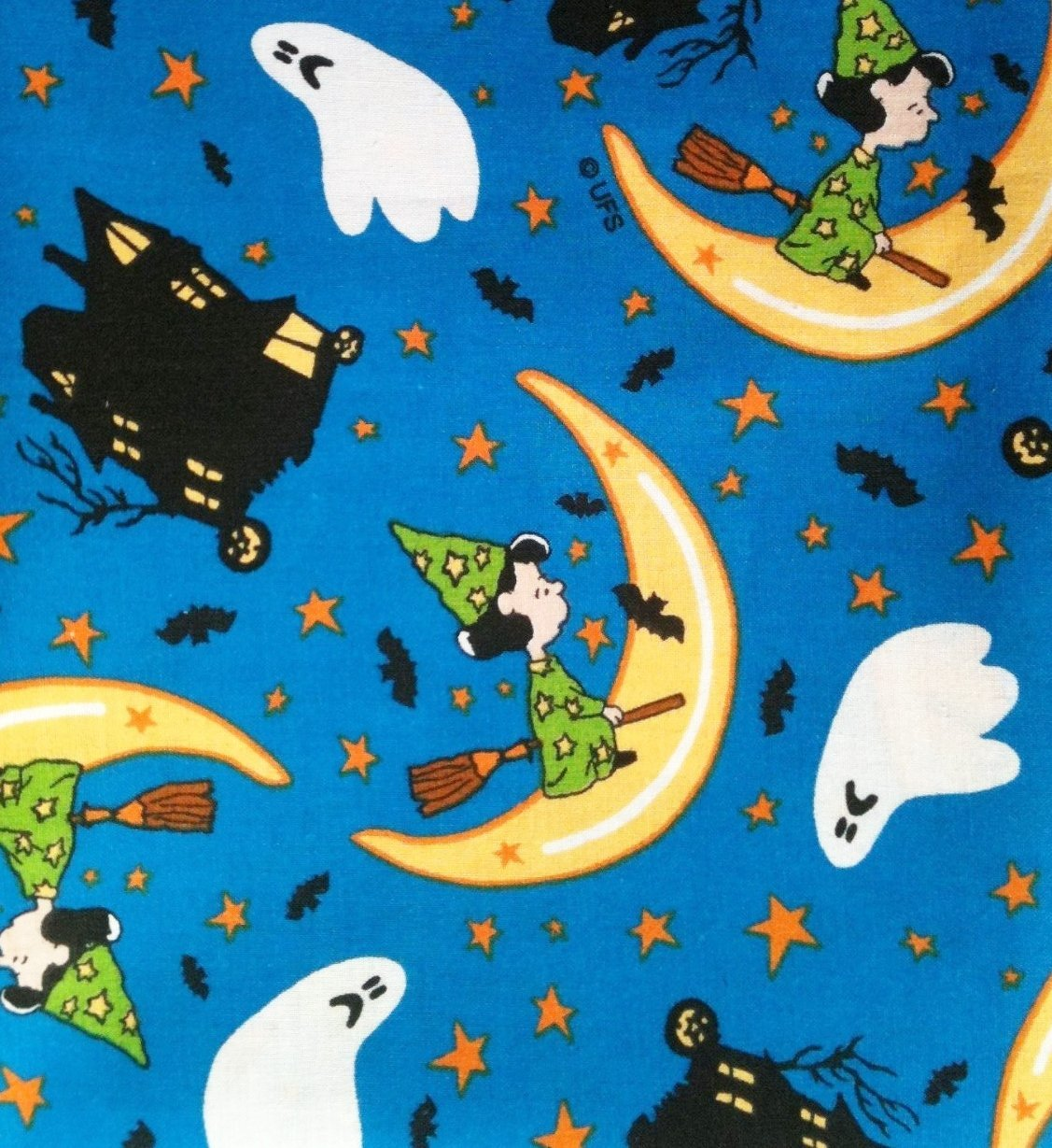 "1 Yard - ""Lucy's Haunted House"" on Blue Halloween Fabric (Great for Quilting, Sewing, Craft Projects, Throw Pillows & More) 1 Yard X 44"" Wide, Officially.., By Peanuts"