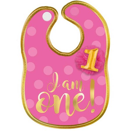 1st Birthday 'Pink and Gold' Fabric Bib